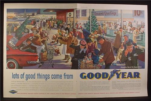 Magazine Ad for Goodyear Products, Shopping Center at Christmas, 1960
