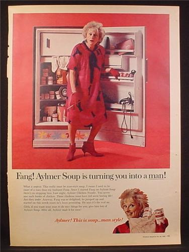 Magazine Ad for Aylmer Soup, Phillis Diller, Celebrity Endorsement, 1966