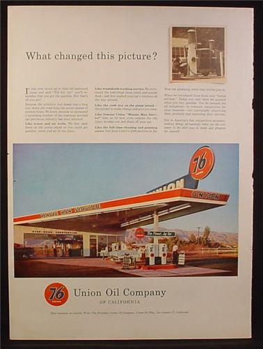 Magazine Ad for 76 Union Oil Company of California, Minute man Service Station, 1954
