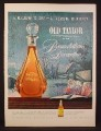 Magazine Ad for Old Taylor Bourbon, Crystal Decanter That Came with Sheet of Gold Leaf, 1954