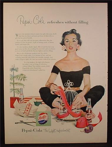 Magazine Ad for Pepsi Pepsi-Cola, Woman in Black Outfit Wrapping a Bird Cage, 1954