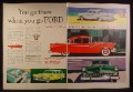 Magazine Ad for 1955 Ford Cars, Customline, Country Sedan Station Wagon, Fairlane, 1954