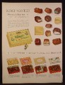 Magazine Ad for Whitman's Sampler, Showing Each Chocolate & Name, 4 Boxes, 1954