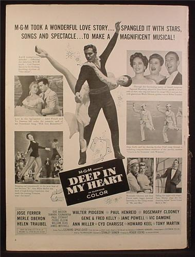 Magazine Ad for Deep In My Heart MGM Movie, Gene Kelly, Jane Powell, Poster, 1954
