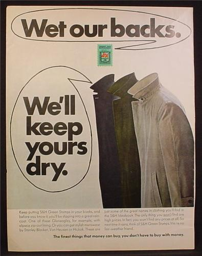 Magazine Ad for S&H Green Stamps, Wet Our Backs, Gleneagle Raincoats, 1969