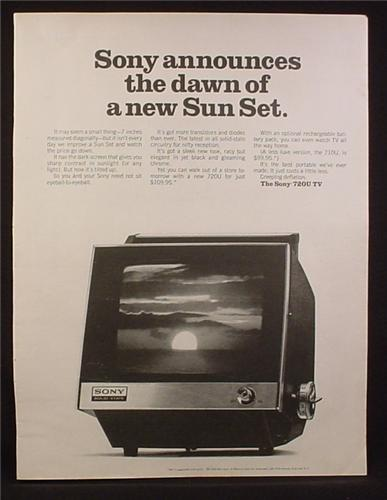 Magazine Ad for Sony 720U TV, Portable Television, 7 Inch Screen, 1969