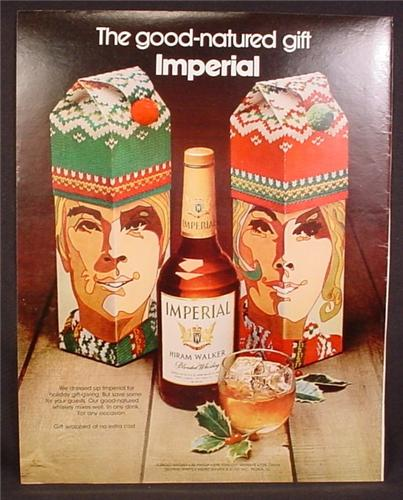 Magazine Ad for Hiram Walker Imperial Whiskey, Gift Boxes That Look Like People 1971