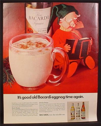 Magazine Ad for Baccardi Rum, Eggnog, Elf Reading A Book Doll, 1971