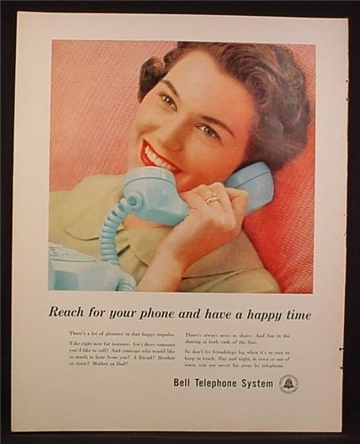 Magazine Ad for Bell Telephone, Woman with Powder Blue Dial Phone, 1959