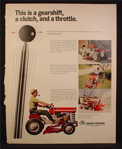 Magazine Ad for Massey Ferguson MF 12 Garden Tractor, Gearshift Clutch & Throttle, 1968