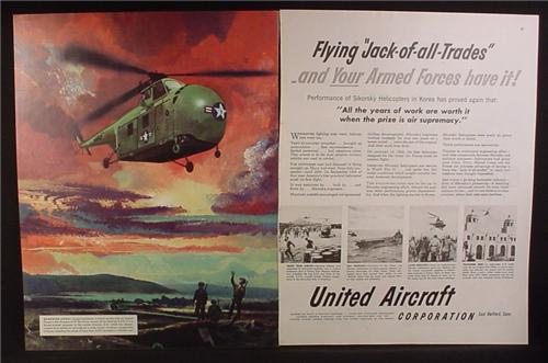 Magazine Ad for United Aircraft Corp, Guardian Angel H-19 Military Helicopter, 1951