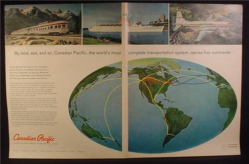 Magazine Ad for Canadian Pacific, Train, Ship, Jet Prop Britannia Airplane, Route Map, 1960