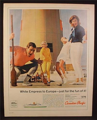 Magazine Ad for Canadian Pacific, White Empress Cruise to Europe, 1967