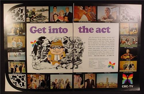 Magazine Ad for CBC TV, Pictures of All The Different Television Shows, 1967