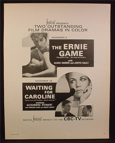 Magazine Ad for CBC TV, 2 Television Movies, The Ernie Game, Waiting For Caroline, 1967