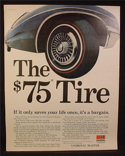 Magazine Ad for Uniroyal Master Tire with Redline Stripe, Red Line, 1967