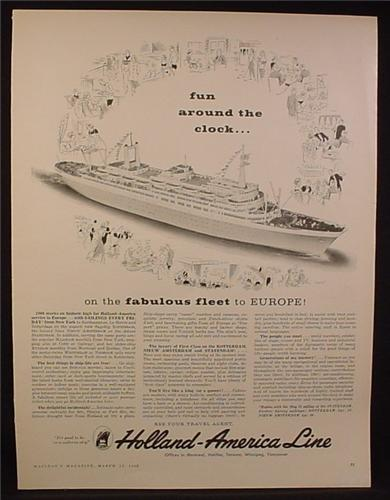 Magazine Ad for Holland American Line, Cruise Ship Rotterdam, 1960
