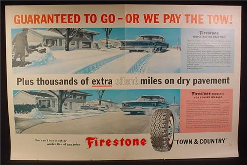 Magazine Ad for Firestone Town & Country Tires, 1960