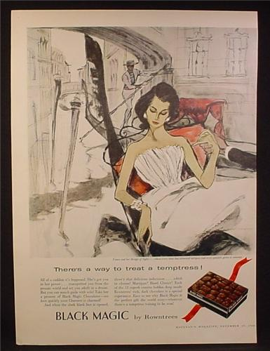 Magazine Ad for Black Magic Chocolates by Rowntrees, Painting of Woman in Gondola, 1960