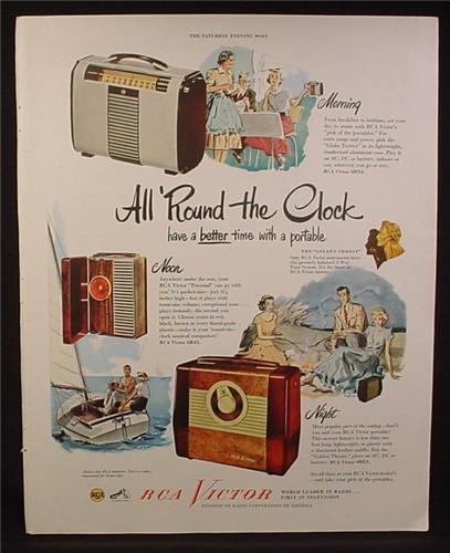 Magazine Ad for RCA Victor Radios, 3 Models, Globe Trotter, Personal, Portable, 1949