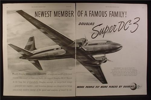 Magazine Ad for Douglas Super DC-3 Airplane, DC3, Newest Member, 1949