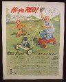 Magazine Ad for REO Royale Power Rotary Lawn Mower, Man in Wagon Being Pulled, 1949