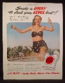 Magazine Ad for Lucky Strike Cigarettes, Woman In Bathing Suit Running in Water, 1949