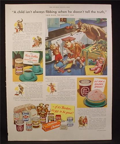 Magazine Ad for Borden's Dairy Products, Elise The Cow, 12 Products Shown, 1949