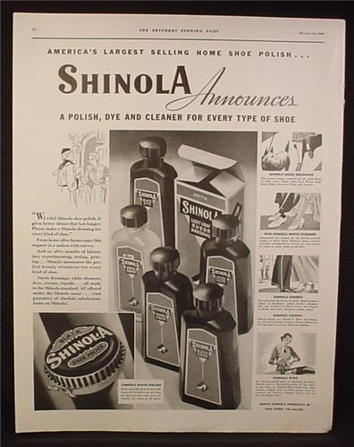Magazine Ad for Shinola Shoe Polish, Dye & Cleaner, Bottles & Can, 1936