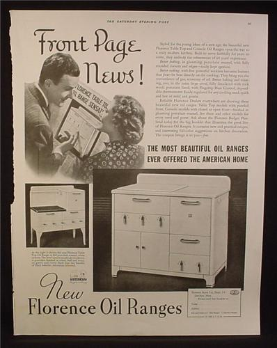 Magazine Ad for Florence Oil Range, Console & Table Top Models, 1936