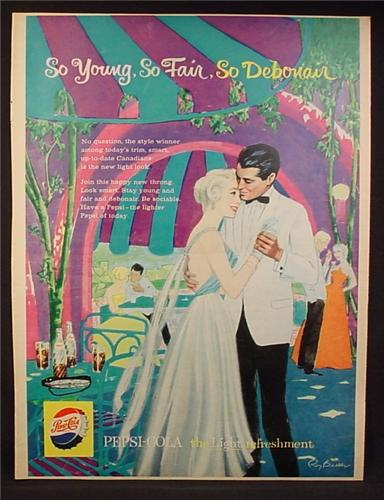 Magazine Ad for Pepsi Pepsi-Cola, Young Couple Dancing, Art by Roy Besser, 1959