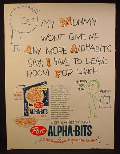 Magazine Ad for Post Alpha-Bits Cereal, Leave Room For Lunch, Alpha Bits, 1959