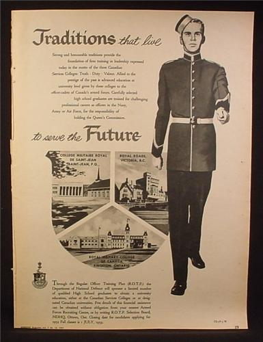 Magazine Ad for Canadian Services Colleges, Traditions That Live To Serve The Future, 1959