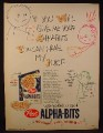 Magazine Ad for Alpha-Bits Cereal, Give Me Your Alpha Bits, You Can Have My Juice, 1959