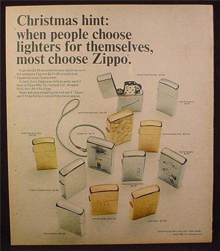 Magazine Ad for Zippo Lighters, 12 Different Models Shown, 1967