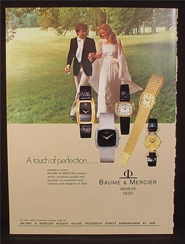 Magazine Ad for Baume & Mercier Watches, 5 Different Styles, 1976