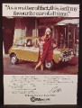 Magazine Ad for Mini Car, Model Twiggy, Celebrity Endorsement, 1977