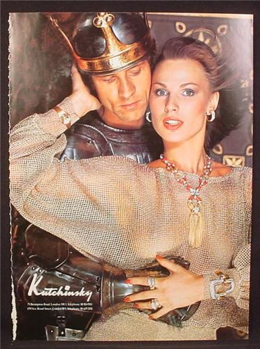 Magazine Ad for Kutchinsky Jewelry, Woman in See Through Chain Mail Type Dress, 1977