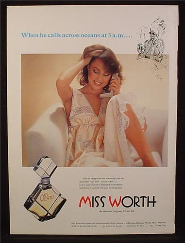 Magazine Ad for Miss Worth Fragrance, Perfume, Woman in Nightgown, Sexy, 1979