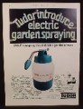 Magazine Ad for Tudor Electric Garden Sprayer, Great Britain, 1973