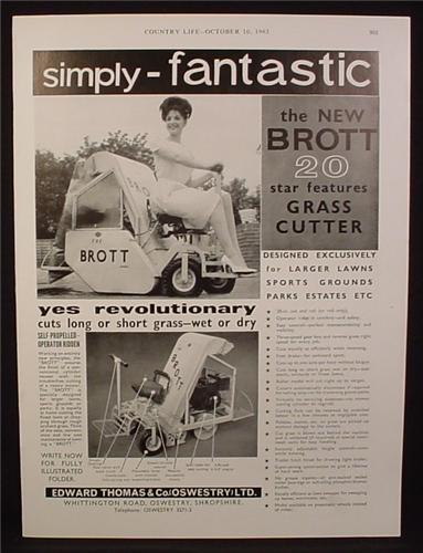 Magazine Ad for Brott 20 Ride On Grass Cutter, Great Britain, 1963