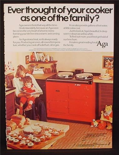 Magazine Ad for Aga Kitchen Cooker, Stove Oven, Great Britain, 1978