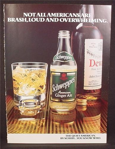 Magazine Ad for Schweppes American Ginger Ale, Soft Drink, Great Britain, 1978
