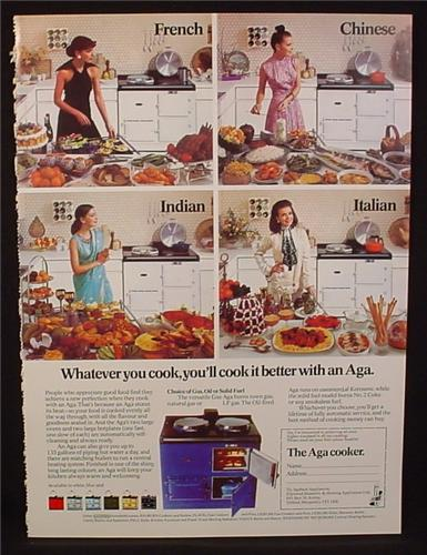 Magazine Ad for Aga Kitchen Cooker, Blue Stove Oven, Great Britain, 1974
