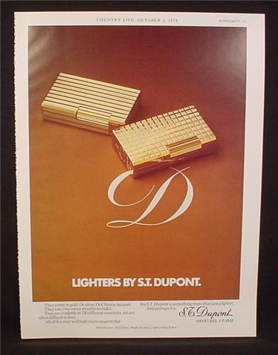 Magazine Ad for S.T. Dupont Lighter, Great Britain, 1974