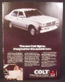 Magazine Ad for Colt Sigma Car, Front & Side View, Great Britain, 1977