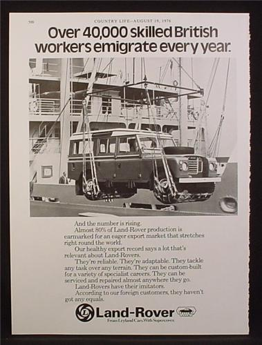 Magazine Ad for Land Rover, In A Sling Being Loaded On A Ship, Great Britain, 1977