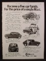 Magazine Ad for Maxi Car, Lots of Views, Great Britain, 1977
