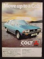 Magazine Ad for Colt Sigma 2000 Car, Front & Side View, Great Britain, 1977