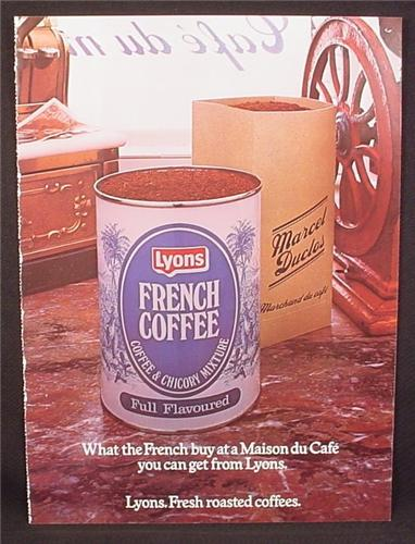 Magazine Ad for Lyons French Coffee, Can, Great Britain, 1976